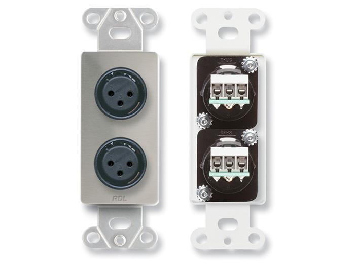 ds xlr2f u2010 dual xlr 3 pin female jacks on decora wall plate rh rdlnet com xlr wall plate wiring diagram XLR VGA Wall Plate