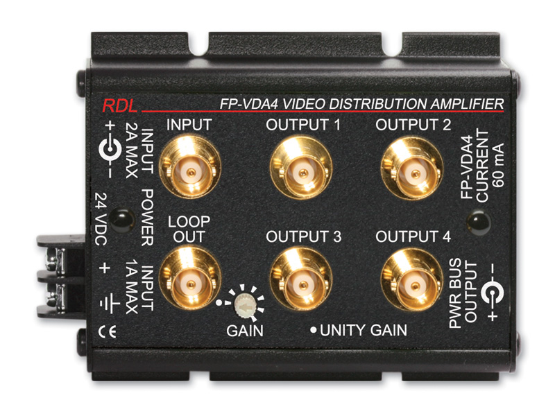 Fp vda4 ntsc pal video distribution amplifier 1x4 bnc