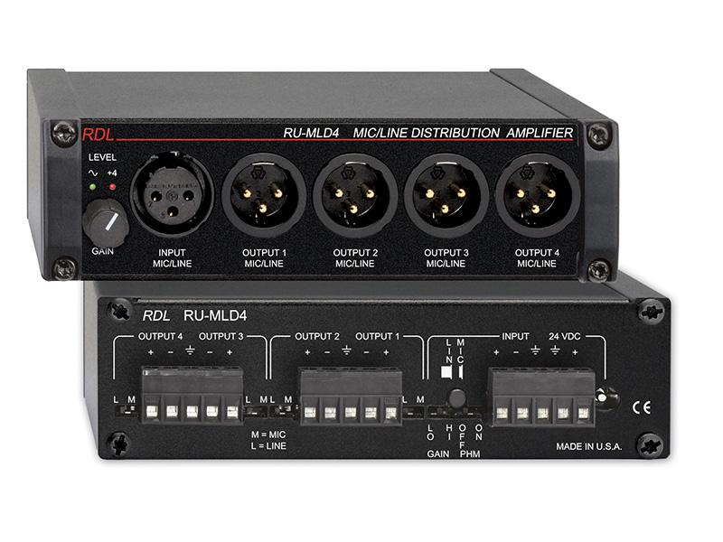 RU-MLD4 ‐ Microphone / Line Distribution Amplifier - 1x4