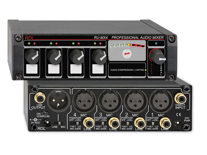 RU-MX4 ‐ Professional 4 Channel Microphone/Line Mixer with ...